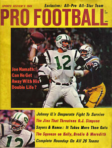 1969  Sports Review's, Pro Football magazine, Joe Namath, New York Jets ~ VG
