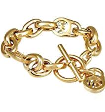Michael Kors MKJ1046 Gold Tone Logo Lock Chain Toggle Bracelet