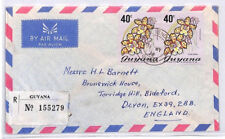 BQ41 1976 Guyana *GPO VENDOR IV* CDS Registered Airmail Cover FLOWERS PTS