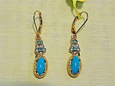 Arizona Sleeping Beauty Turquoise, Zicon & Apatite dangle earrings in YG/925