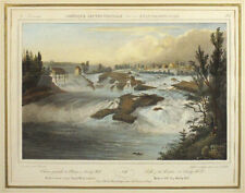 1828 Antique MILBERT Hand Colored Lithograph FALLS OF HUDSON RIVER SANDY HILL NY