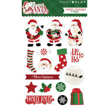 Scrapbooking Stickers Crafts Here Comes Santa Claus Puffy Stockings Holly Jolly