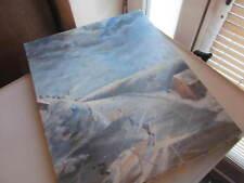 peinture montagne skieurs