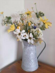 Artificial Yellow & White Wild Garden Flower Arrangement In A Grey Zinc Jug