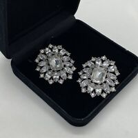 VINTAGE Sparkly Dress Clips Pair Silver Tone Clear Stones Kitsch Retro Evening