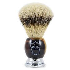 Parker HHST grandes de aletas plateadas pelo de tejón brocha de afeitar con mango de cuerno de imitación