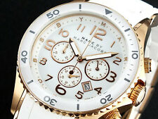 NEW MARC JACOBS ROCK ROSE GOLD TONE CHRONOGRAPH WHITE DIAL LADIES WATCH MBM2547