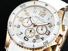NUOVO MARC JACOBS Rock Rose Gold Tone Cronografo Quadrante Bianco Ladies Watch MBM2547