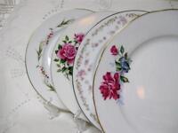"""4 Vtg Mismatched China Dinner Plates 9-3/4"""" - 10-1/2"""" Wedding Shower Florals"""
