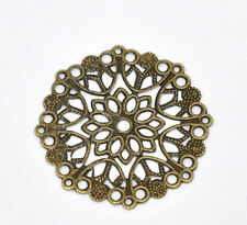 50 Connecteurs Rond Fleur Filigrane Bronze 35mm