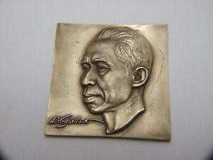 Vintage Asian Philippine Bronze Head Plaque Historical Famous Person  Signed