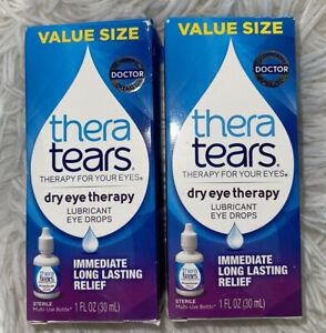 2 x Thera Tears Dry Eye Therapy Lubricant Eye Drops 30 mL (1 oz) New!
