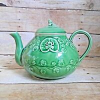 Bordallo Pinheiro Green Teapot Frog Service Lily Pad Made in Portugal