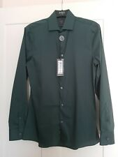 M&S Mens Skinny Fit Easy Iron Shirt with STRETCH dark green size SMALL BNWT