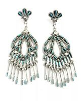 Native American Sterling Silver Zuni Needle Point Turquoise Dangle Earrings