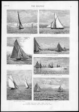 1884 Antique Print - SCOTLAND CLYDE Yacht Racing Samoena Arran Marjorie   (133)
