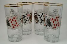 Pasabahce Drinking glasses NEW, Set of 4,playing cards, A-hi Straight, gold band