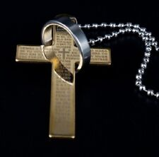 LARGE GOLD & SILVER CROSS RING ON CHAIN LORDS PRAYER BIBLE PENDANT NECKLACE UK