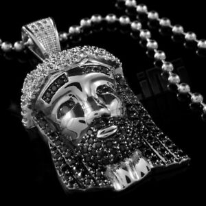 18K White Gold Plated Iced JESUS PIECE Pendant Simulated Black CZ Out Necklace 2