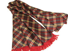 "Men's 100% Silk Scarf / Red / Plaid / 62"" X 12"" / with fringe"