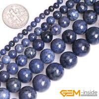 Natural Blue Dumortierite Gemstone Round Loose Spacer Beads For Jewelry Making