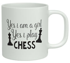 Yes I'm a Girl and Yes I Play Chess White 10oz Novelty Gift Mug Cup