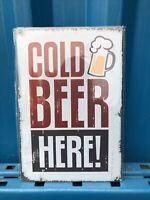 Cold Beer Here Restaurant, Bar, Pub, Vintage, Man Cave Metal Tin Sign