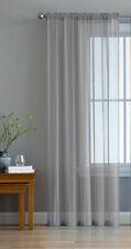 Slot Top Plain Voile Curtain Panel - White Black All Colours - Net & Voile
