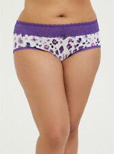 Torrid PURPLE LEOPARD WIDE LACE COTTON CHEEKY Panty NWT Size 0 (12) Plus