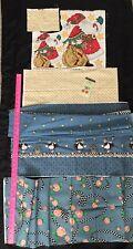 Mary Engelbreit Fabric Lot 90's Hannah Doll Pink Roses Sm Cherries & Rhinestone