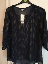 BNWT Ex Peacock Navy Blue 3/4 Sleeves Top,size 8