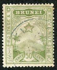 BRUNEI SG9 1895 50c yellow-green Fine Used