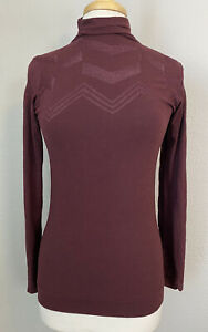 ATHLETA Remarkawool Chevron Turtleneck L/S Shirt Maroon Medium #152500