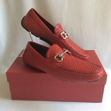 SALVATORE FERRAGAMO Red 10 D braided PARIGI BIT Driving Moccasin Shoes AuthenNEW