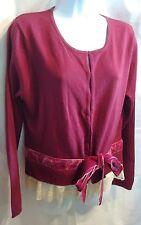 Chadwicks Burgundy Sweater Velvet Ties, Hook & Eye Closure Size L NWT, NEW