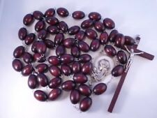 More details for wall rosary ~ brown wood ~ oval bead