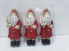 3 Santa Claus Red Gold Glitter Christmas Ornaments 5.5""
