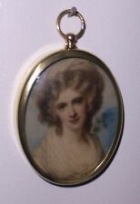 Miniature of Mrs Fitzherbert, mistress of George IV, set in an oval brass frame