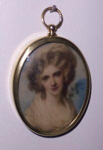 Miniature of Mrs Fitzherbert, mistress of George IV, set in an oval brass frame