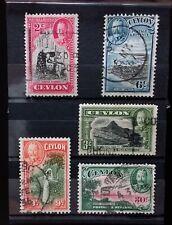 CEYLON 1935 KING GEORGE V 5 USED VALUES    Z063    Free Shipping