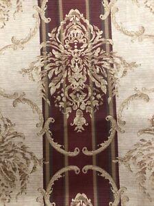 Croscill Villanova Floral Damask Stripe Shower Curtain 70 x 71 Gold Wine Green
