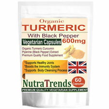 Organic Turmeric 600mg Curcumin Pure with Black Pepper 60 Veg Capsule UK made