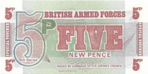 UK ARMED FORCES 🌎💴 5 Pence PM - 47 💴🌎💴 UNC from 1972