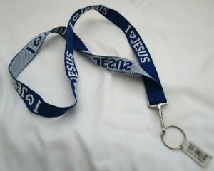 """Royal Blue embroidery White Lettering I Love Jesus 15"""" lanyard w/ Device Holder"""