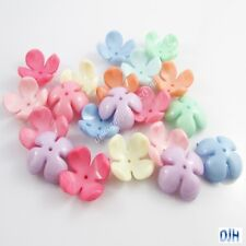20pcs 4 Petal Flower Bead Cap Craft Beads Opaque Acrylic Mixed 24x24x10mm