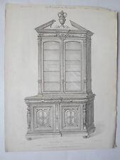 Bibliothèque style RENAISSANCE GRAVURE le MAGASIN de MEUBLES Victor QUETIN 19éme
