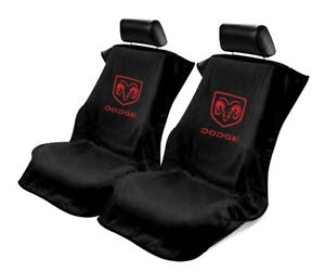 Seat Armour 2 Piece Front Car Seat Covers For Dodge - Black Terry Cloth