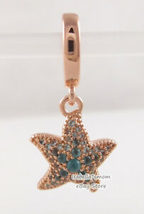 SPARKLING STARFISH Genuine PANDORA Rose GOLD Plated/Blue DANGLE Charm 788942C01