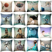 Fashion Cartoon Fairies Pillow Case Cotton Linen Sofa Cushion Cover Home Decor