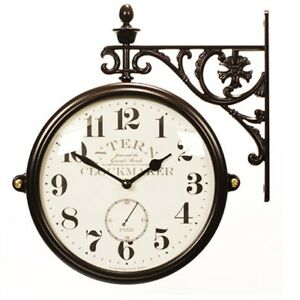 Antique Vintage Double Sided Wall Clock Home Decor Station Clock Gift M195BRANA